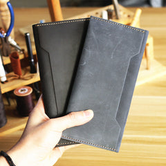 Vintage Brown Leather Mens Long Wallet Bifold Long Wallet Brown Phone Clutch Wallet For Men