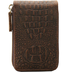 Dark Brown Leather Mens Small Card Wallet Card Holder Coin Purse For Men