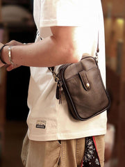 Dark Brown Vintage Leather Mens Small Messenger Bag Waist Bag Black Belt Pouch Bag For Men
