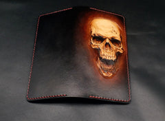 Dark Coffee Handmade Tooled Death Skull with Horn Leather Mens Bifold Long Wallet Clutch For Men