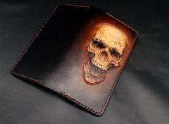 Dark Coffee Handmade Tooled Smiling Skull Leather Mens Bifold Long Wallet Clutch For Men