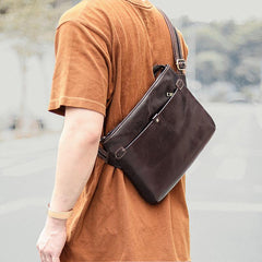 Dark Coffee Leather Mens Casual Small Courier Bag Messenger Bags Brown Postman Bag For Men