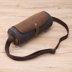 Gray Leather Mens Green Barrel Sling Bag Postman Bag Bucket Messenger Bag Side Bag For Men