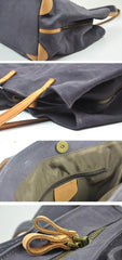 Gray Canvas Leather Mens Denim Bag Tote Bag Messenger Bag Camel Travel Bag For Men and Women