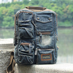 Denim Blue Mens 14 inches Backpack School Backpack Blue Jean Travel Backpack For Men