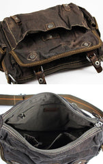 Cool Dark Green Denim Mens 10 inches Messenger Bags Jean Postman Bags Courier Bag For Men