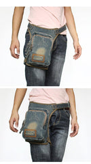 Denim  Mens Waist Bag DropLeg Pouch Bag Blue Hip Bag Fanny Pack For Men