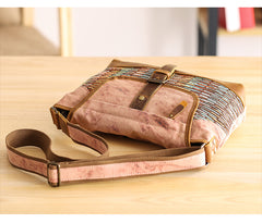 Country Style Canvas Leather Mens 14'' Womens Small Side Bag Courier Bag Messenger Bag for Men