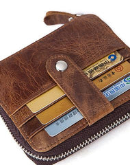 Cool Leather Small Slim Zipper Wallet Short Wallet Card Wallets For Men