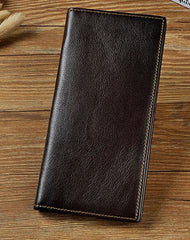 Cool Leather Mens Bifold Wallet Coffee Long Wallet for Men with Multi Cards