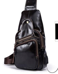 Leather Cool Chest Bag Sling Bag Sling Crossbody Bag Sling Travel Bag Hiking Bag For Mens