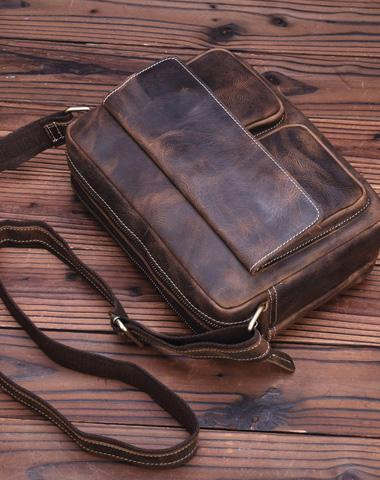 Vintage Leather Messenger Bag Shoulder Bag CrossBody Bag For Men