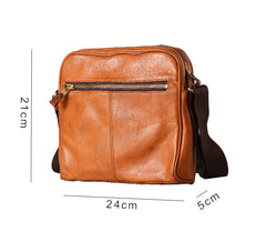 Fashion Black Leather Men Small Vertical Messenger Bag Side Bag Brown Courier Bag For Men