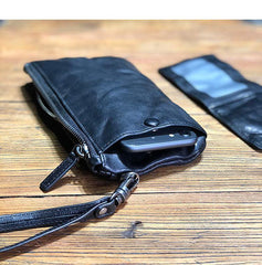 Fashion Black Leather Mens Long Wallet Brown Wristlet Wallet Phone Chain Wallet Clutch Men