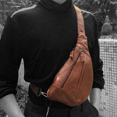 Fashion Brown Leather Men's Sling Bags Chest Bag Fashion Brown One shoulder Backpack Sling Bag For Men