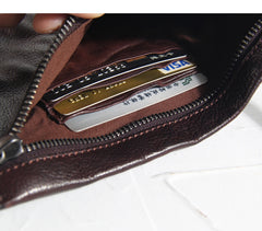 Fashion Leather Mens Clutch Cool Black Slim Wallet Zipper Clutch Wristlet Wallets for Men