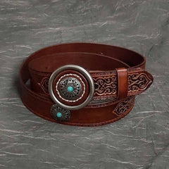 Badass Mens Brown Leather Tooled Rivet Rock Punk Belt Motorcycle Belt Leather Belt For Men
