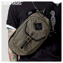 Fashion Waxed Canvas Mens Sling Bag Canvas Sling Pack Blue Canvas Sling Backpack for Men