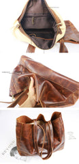 Vintage Brown Leather Men Womens Tote 15 inches Amber Brown Tote Bag Shoulder Tote Bag For Men