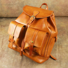 Fashionable Brown Leather Men's Backpack College Backpack 14inch Laptop Backpack For Men and Women