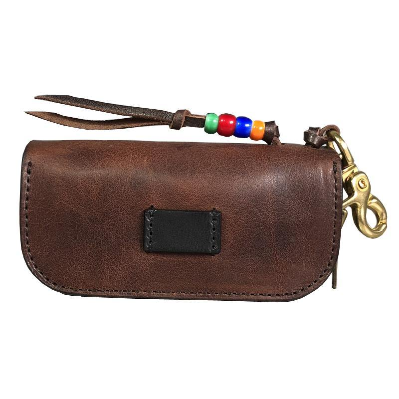 Handmade Brown Leather Mens Cool Key Wallets Car Key Change Coin Holder Car Key Case for Men