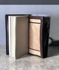 Fashion Leather Black Mens Travel Wallet Notebook Bifold Long Wallet Passport Wallet for Men