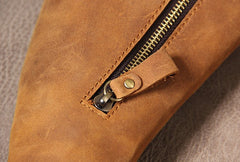 Genuine Brown Mens Cool Sling Bag Leather Vintage Crossbody Bag Chest Bag Travel Bag for men