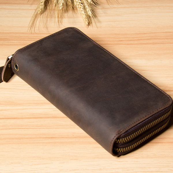Genuine Cool Leather Mens Clutch Vintage Wallet Double Zipper Clutch Wristlet Bag Wallet for Men