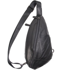 Genuine Leather Black Mens Cool Sling Bag Crossbody Bag Chest Bag Travel Bag for men