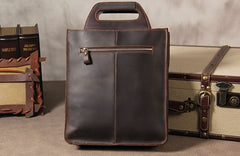 Cool Mens Brown Coffee Handbag Genuine Leather Cool Vintage Shoulder Bag for Men