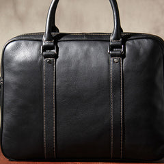 Genuine Leather Mens Black Briefcase Shoulder Bag Work Bag Laptop Bag Business Bag for Men