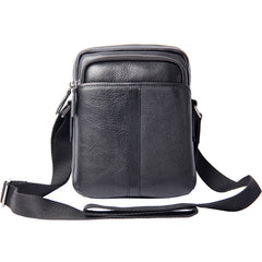 Genuine Leather Mens Black Cool Small Shoulder Bag Messenger Bag Crossbody Bag for Men