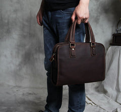 Genuine Leather Mens Coffee Briefcase Shoulder Bag Work Bag Laptop Bag Business Bag for Men