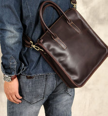 Genuine Leather Mens Coffee Cool Handbag Briefcase Shoulder Bag Work Bag Business Bag for men