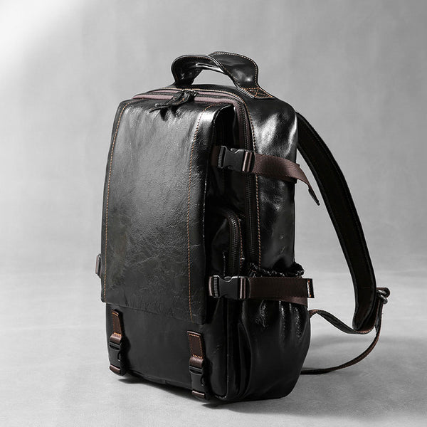 Genuine Leather Mens Cool Black Backpack Laptop Bag Large Travel Bag H –  iwalletsmen ff32db4dacb9