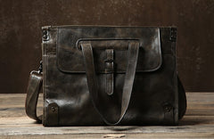 Genuine Leather Mens Cool Handbag Shoulder Bag Messenger Bag Laptop Bag for Men
