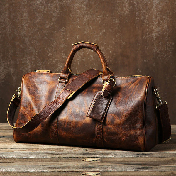 36bb2e8c18b8 Genuine Leather Mens Large Brown Travel Bag Cool Duffle Bag Shoulder Bag  Weekender Bag for Men