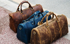 Genuine Leather Mens Large Blue Travel Bag Cool Duffle Bag Shoulder Bag Weekender Bag for Men