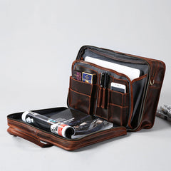Genuine Leather Mens Large Travel Bag Cool Messenger Bag Shoulder Bag Laptop Bag Briefcase Weekender Bag for Men
