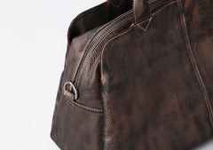 Genuine Leather Mens Travel Bag Coffee Cool Messenger Bag Shoulder Bag Handbag Weekender Bag for Men