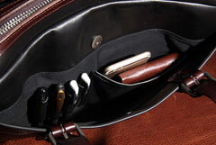 Genuine Leather Mens Vintage Black Briefcase Shoulder Bag Work Bag Laptop Bag Business Bag for Men