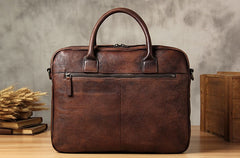 Genuine Leather Mens Vintage Brown Briefcase Shoulder Bag Work Bag Laptop Bag Business Bag for Men