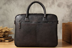 Genuine Leather Mens Vintage Gray Briefcase Shoulder Bag Work Bag Laptop Bag Business Bag for Men