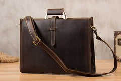 Genuine Leather Mens Vintage Coffee Briefcase Shoulder Bag Work Bag Laptop Bag Business Bag for Men