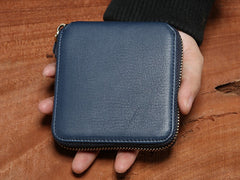 Genuine Leather Mens Zipper Cool Short Leather Wallet Men Small Wallets Bifold for Men