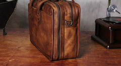 Genuine Leather Vintage Brown Mens Cool Large Briefcase Shoulder Bag Travel Bag for men