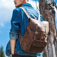 Genuine Leather Vintage Brown Mens Cool Leather Backpack Travel Bag for men