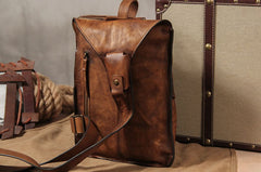Genuine Leather Vintage Brown Mens Cool Sling Bag Crossbody Bag Chest Bag Travel Bag for men