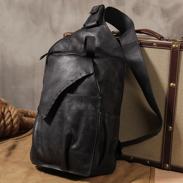 Genuine Leather Vintage Gray Mens Cool Sling Bag Crossbody Bag Chest Bag Travel Bag for men