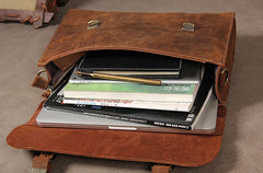 Genuine Leather Vintage Coffee Brown Mens Briefcase Messenger Bag Work Bag Business Bag for Men